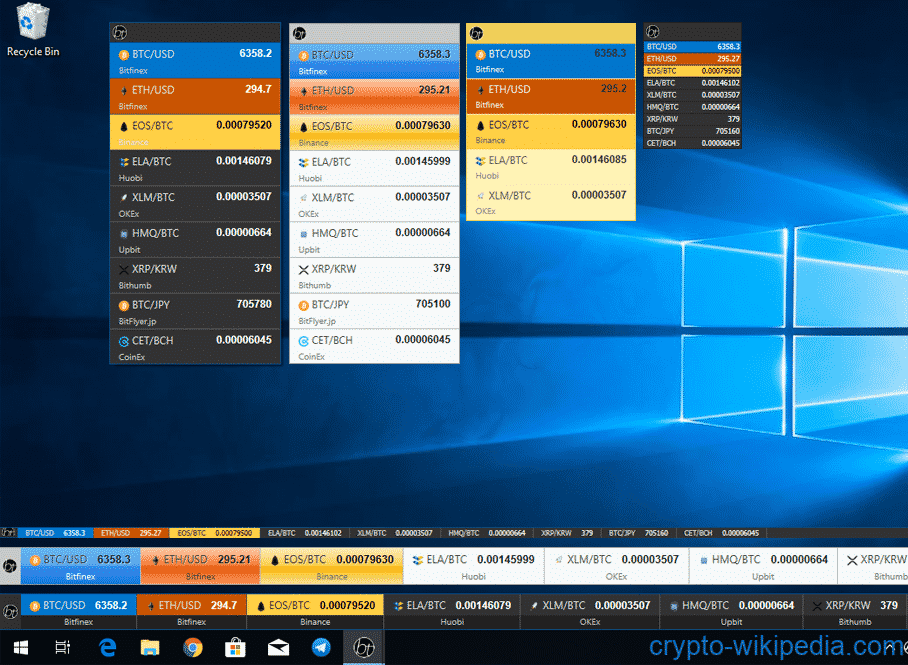 BitTab cryptocurrency(coin) ticker widget for Windows