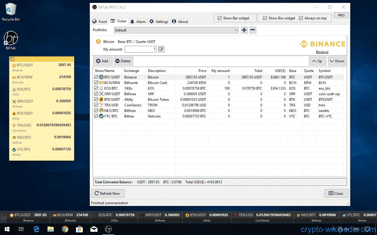 bitcoin ticker del desktop)